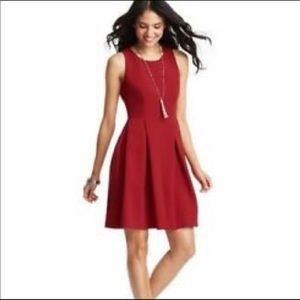 J. Crew dark red fit & Flare sleeveless dress